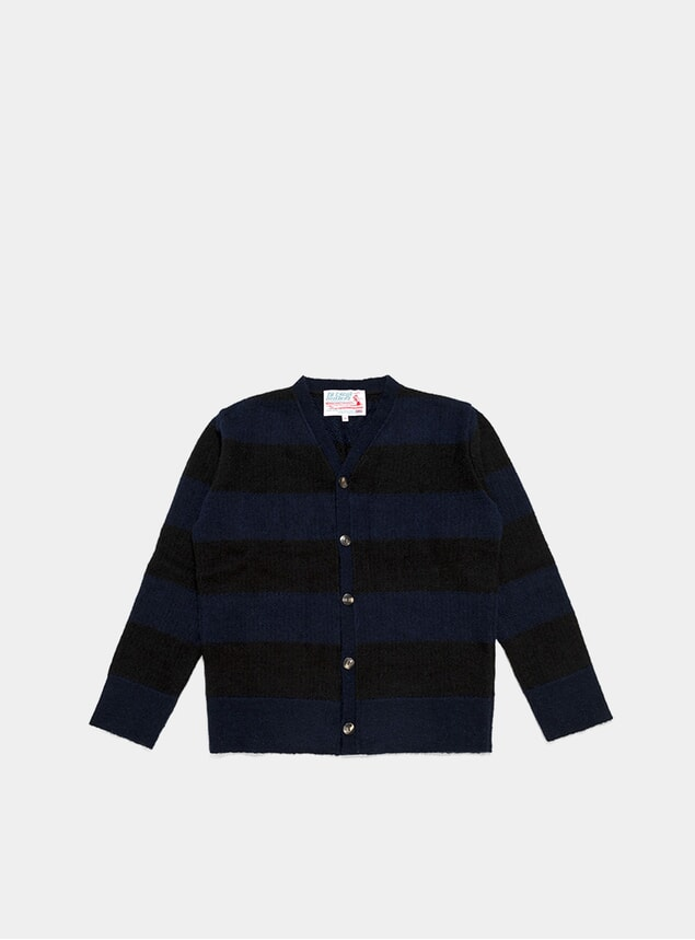 Navy / Black TED Mohair Stripe Cardigan