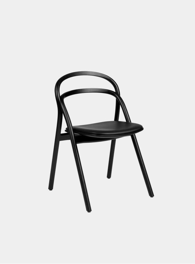 Black / Black Leather Upholstered Udon Chair