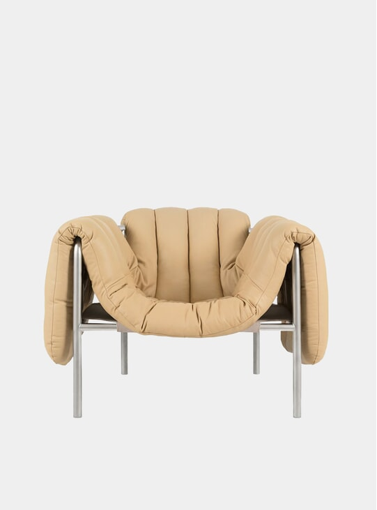 Sand Leather / Stainless Puffy Lounge Chair