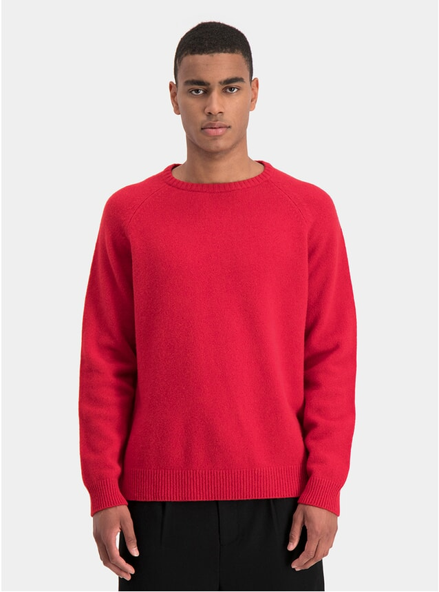 Red Scruffy Knit Sweater