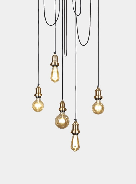 Brass Brooklyn 5 Wire Pendant