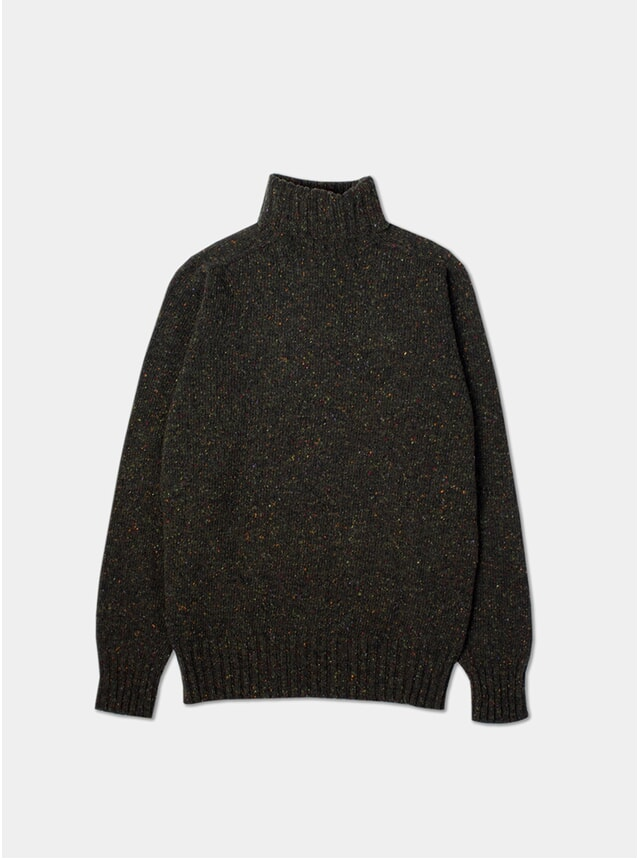 Dark Forest Merino Wool Donegal Roll Neck
