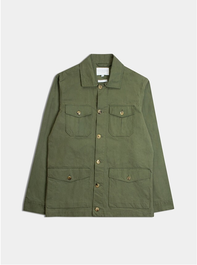 Meadow Green Pigment Coated Cotton Field Jacket