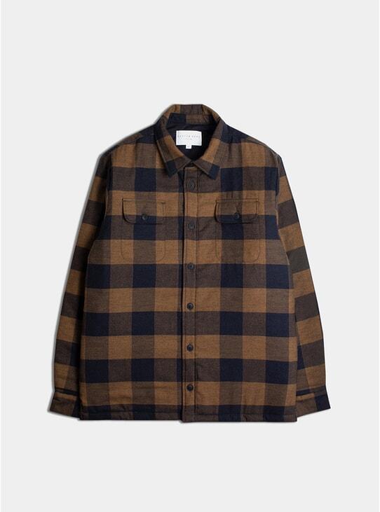 Tobacco / Navy Brushed Cotton Haston Shirt
