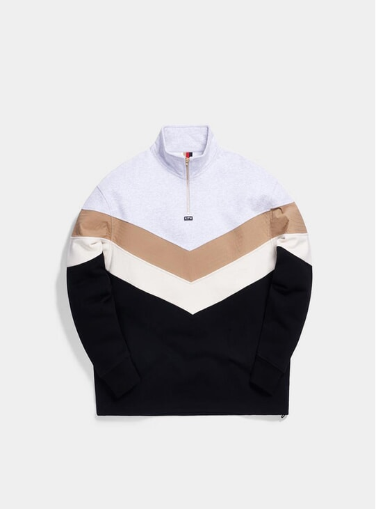 Black / Multi Track Line Quarter-Zip Pullover