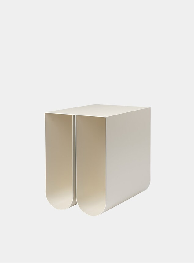 Beige Curved Side Table