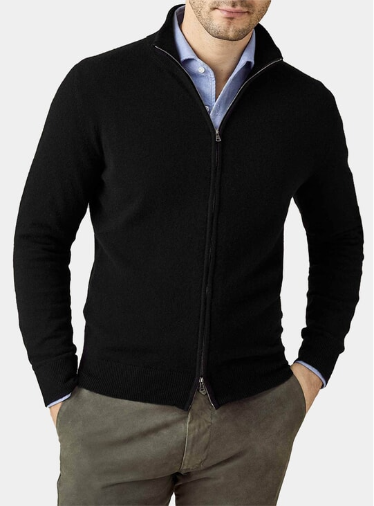 Black Pure Cashmere Zip Cardigan