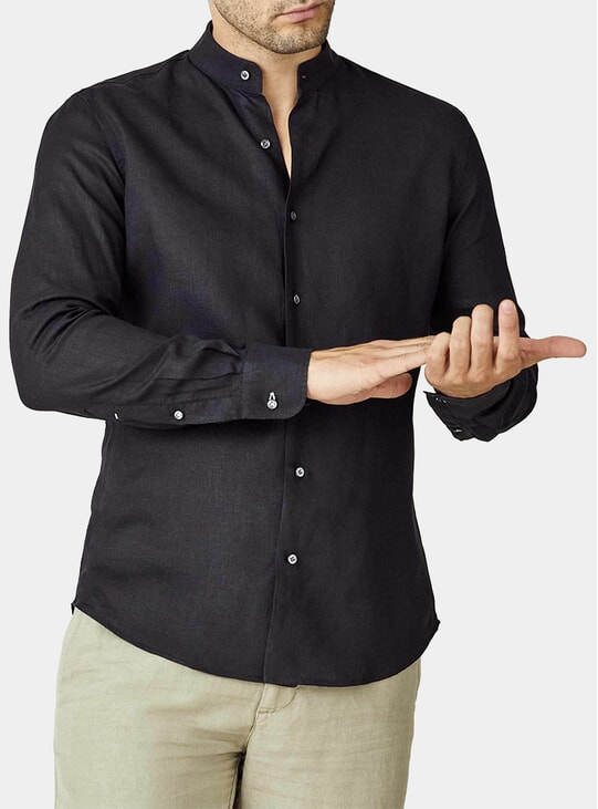 Black Versilia Linen Shirt