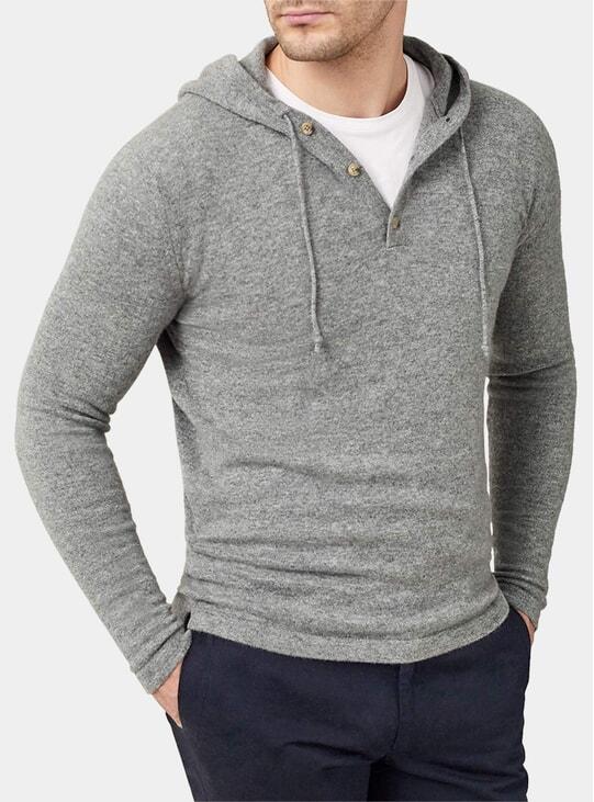 Dolomiti Grey Pure Cashmere Hoodie