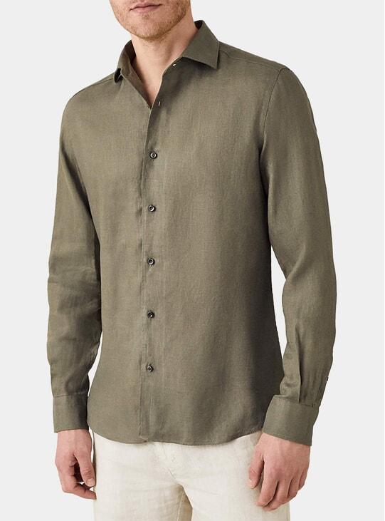 Khaki Green Portofino Linen Shirt
