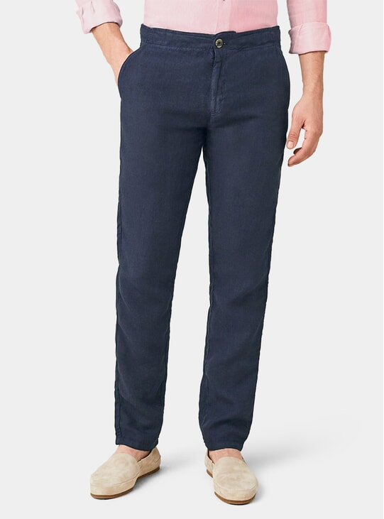 Navy Blue Lipari Linen Trousers