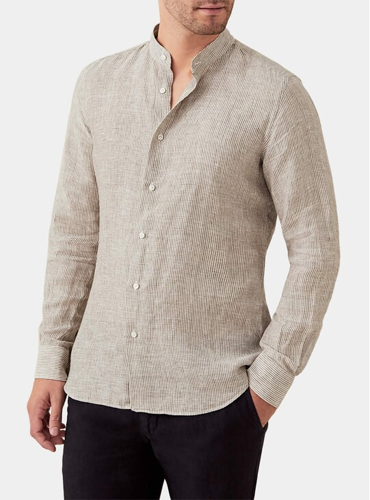 Nocciola Striped Versilia Linen Shirt