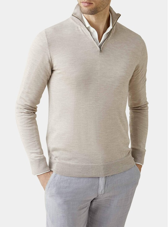 Oatmeal Fine Silk-Cashmere Zip-up