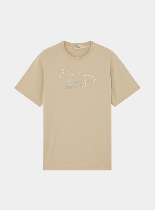 Beige Profile Fox Embroidery T Shirt