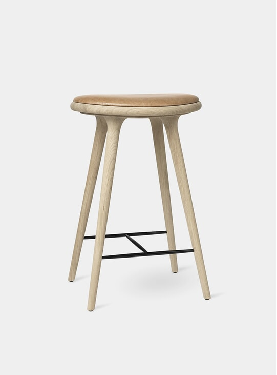 69cm Soaped Oak Beech High Stool