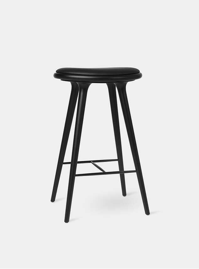 74cm Black Stained Oak Beech Stool