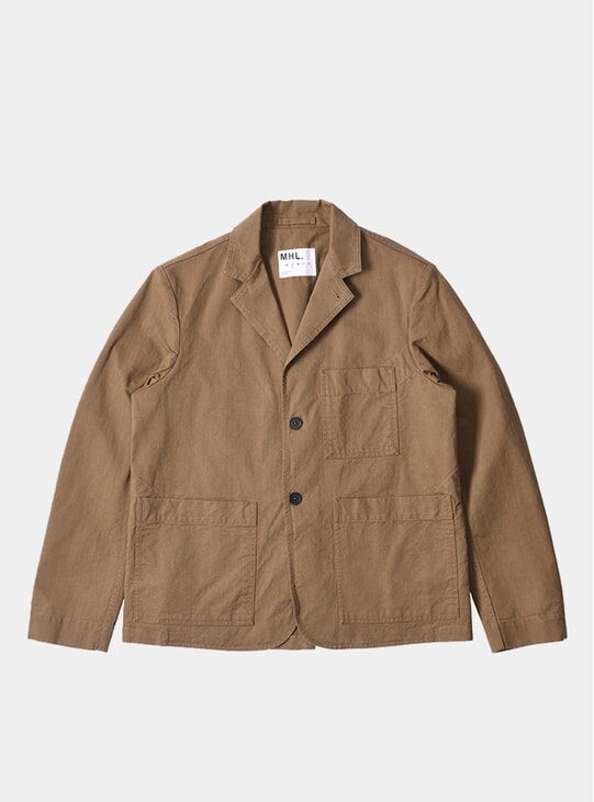 Khaki Cotton Drill Two Button Workwear Blazer