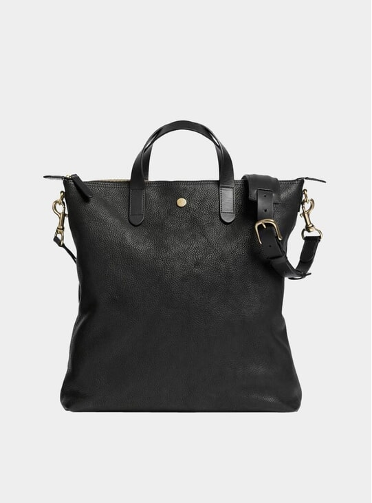 Black / Black Leather M/S Shopper Tote