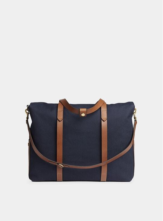 Midnight Blue / Cuoio M/S Mega Tote Bag