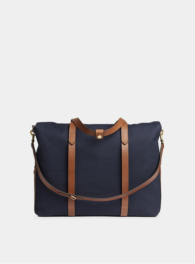 Midnight Blue / Cuoio M/S Mega Tote Bag