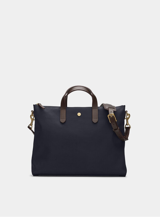 Navy / Dark Brown M/S Brief Bag