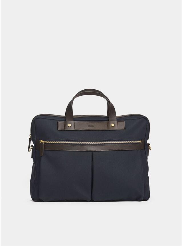 Navy / Dark Brown M/S Office Bag