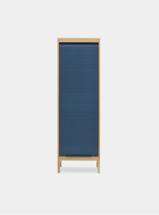 Dark Blue High Jalousi Cabinet