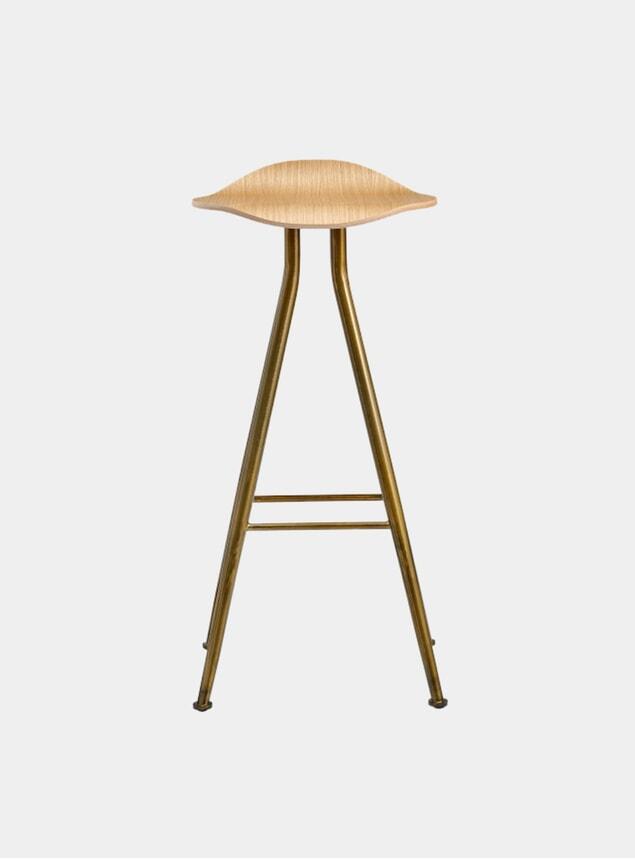Brass / Natural Oak Barfly Bar Chair
