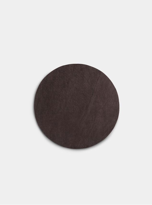 Dark Brown Row Circular Rug