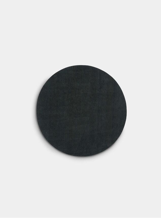 Dark Green Row Circular Rug