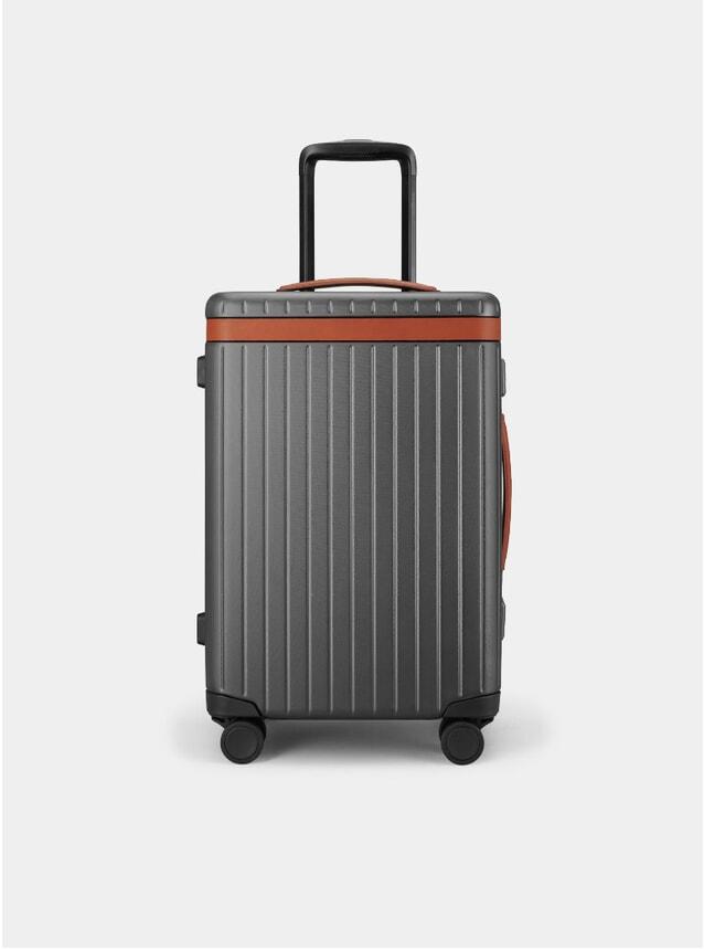Cognac / Dark Grey Carry-on Suitcase