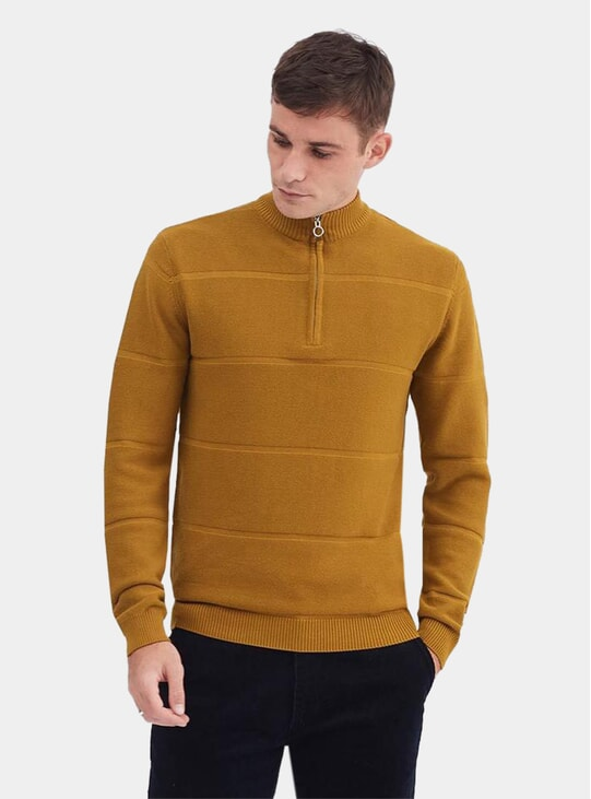 Copper Mock Neck Weave Zip Jumper