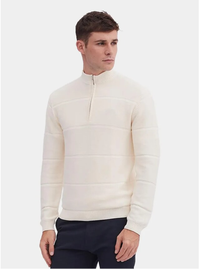 Cream Mock Neck Weave Zip Jumper