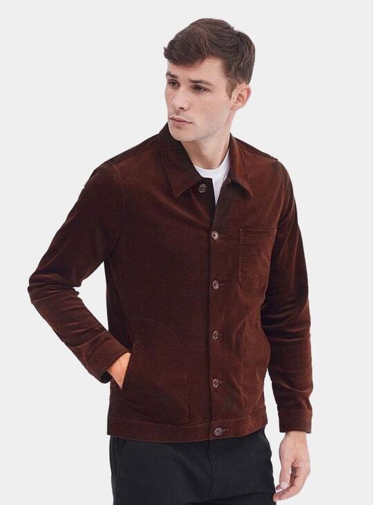 Espresso Cotton Suede Vincent Button Jacket