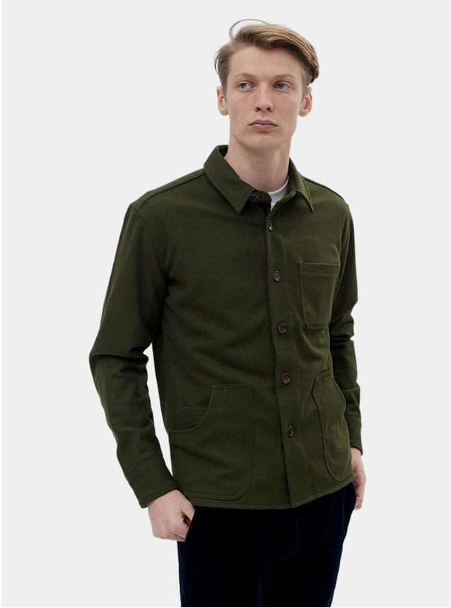 Green Melton Blanket Overshirt