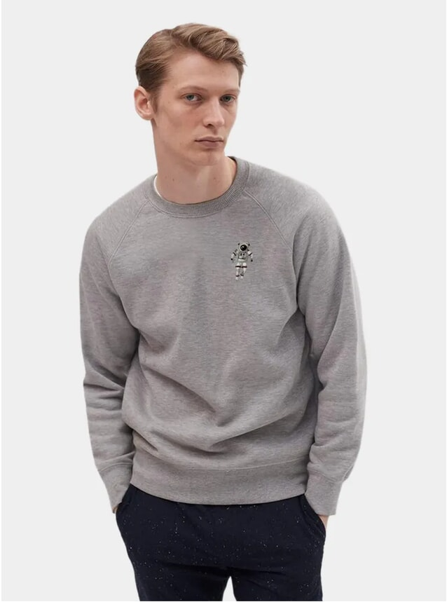 Heather Grey Embroidery Spaceman Sweatshirt