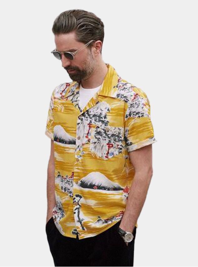 Mustard Fuji Pagoda Cuban Short Sleeve Shirt