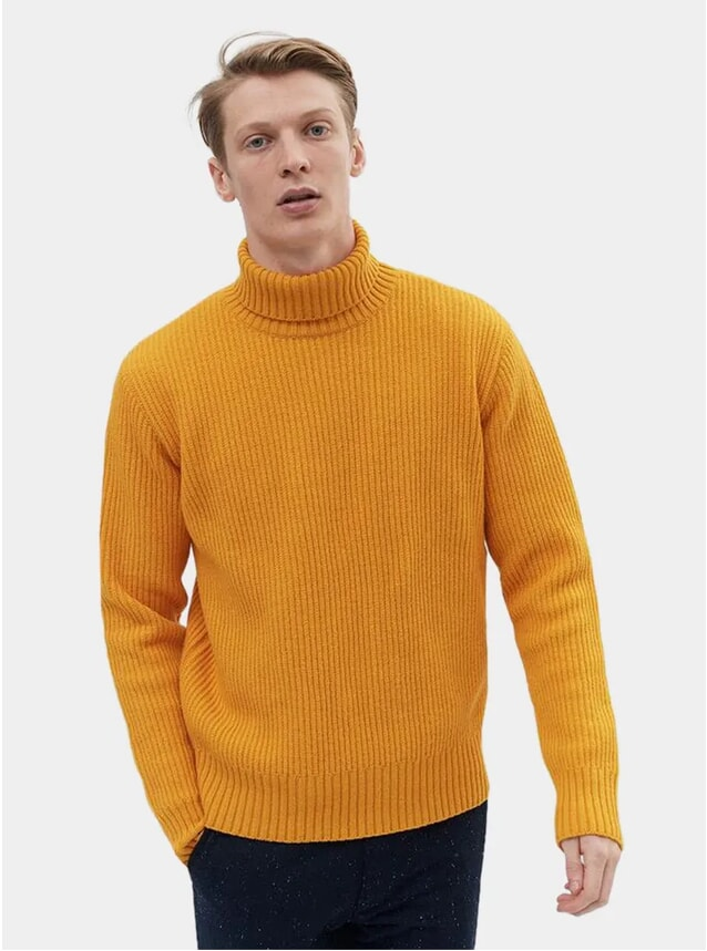 Mustard Wool Rib Roll Neck