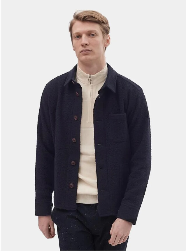 Navy Boiled Wool Blanket Overshirt