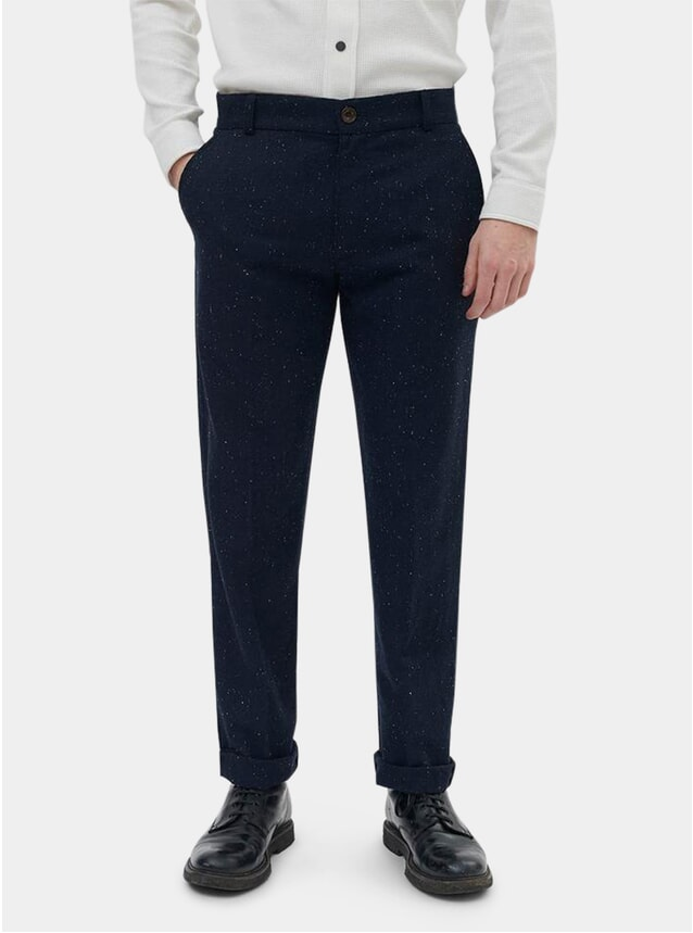 Navy Wool Nep Suit Trousers