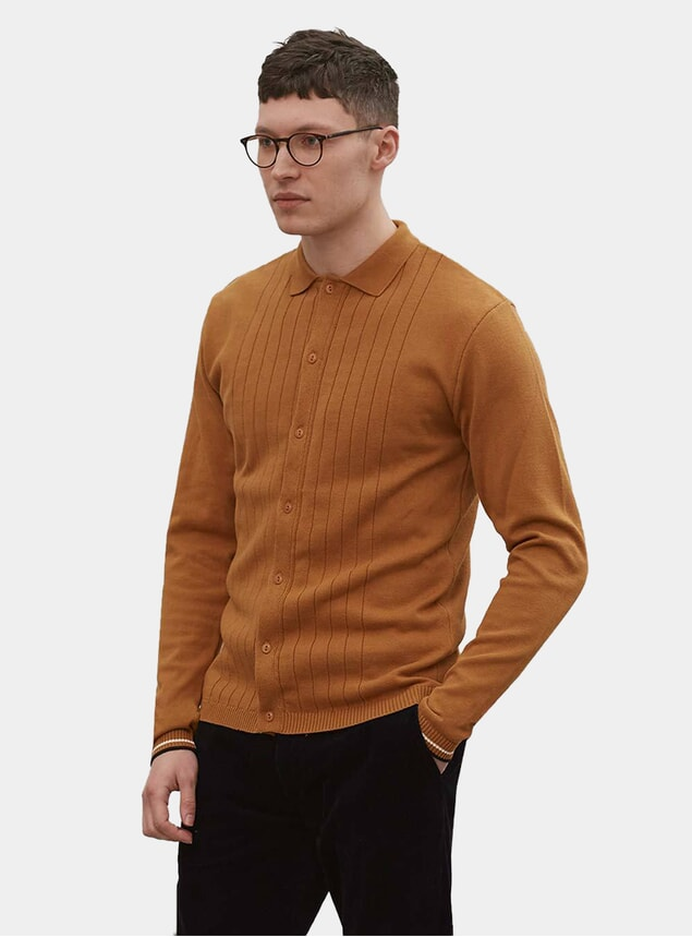 Toffee Cotton Tonal Striped Knit