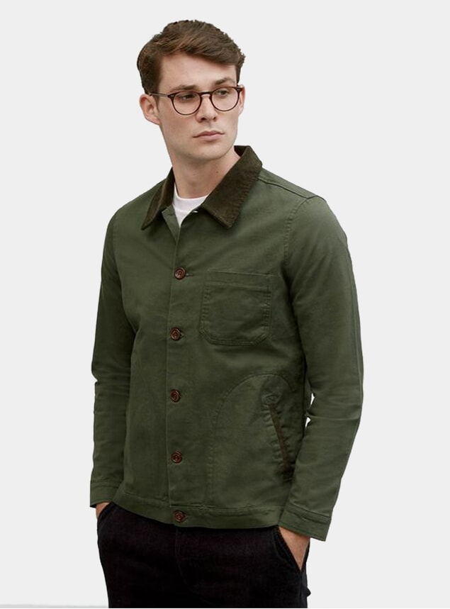 Forest Corduroy Collar Vincent Button Overshirt