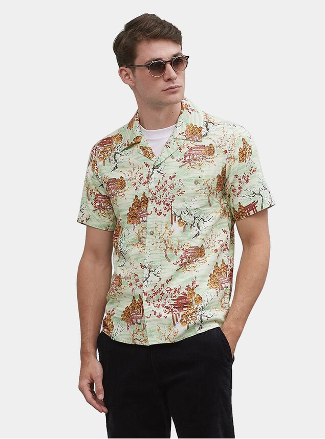 Green Basho Hut Cuban Short Sleeve Shirt