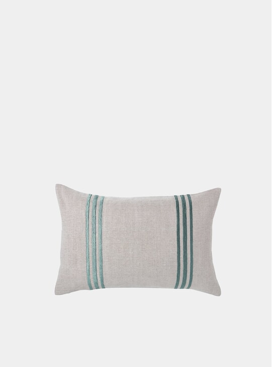 Green Double Stripe Linden Cushion