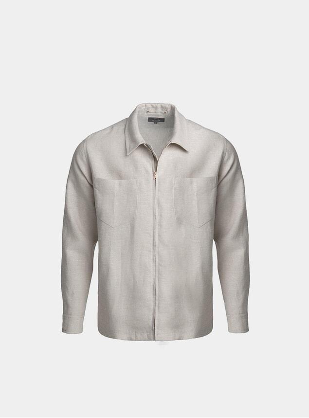Natural Linen Zip Through Overshirt