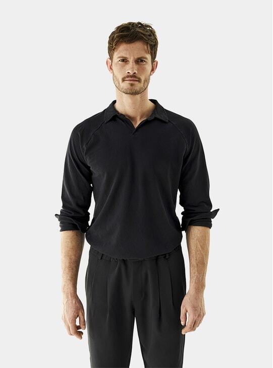 Deep Blue Cotton Pique Polo Shirt