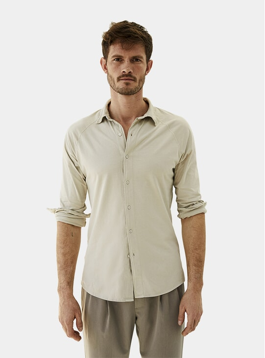 Sand Grey Cotton Shirt