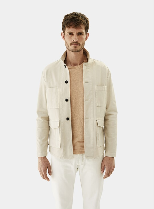 Sand Grey Cotton Twill Jacket