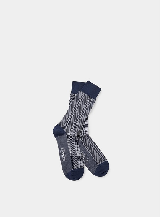 Blue Herringbone Socks
