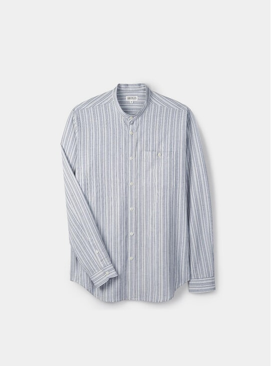 Blue Stripe Grandad Shirt